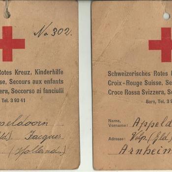 Schweizerisches Rotes Kreuz, identiteitskaart van Jacques Appeldoorn
