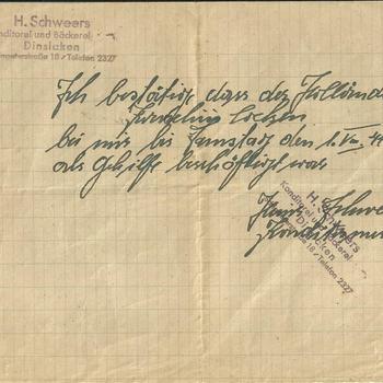 Briefje, handgeschreven van H. Schweers te Dinslaken betreffende de aanwezigheid van dhr Kocken op een bepaald tijdstip