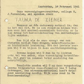 H.J. Vermeulen zal spreken over Talma de Ziener,  Amsterdam 18 februari 1941