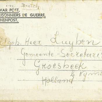 Brief van C.A. Franzmann uit England , 19 februari 194....... aan Dhr Luyben gemeente-secretaris te Groesbeek