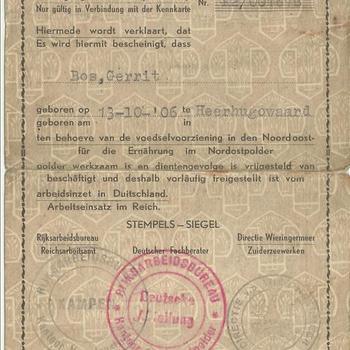 Verklaring  Ausweis  van Gerrit Bos vrijstelling van de arbeidsinzet in Duitsland.