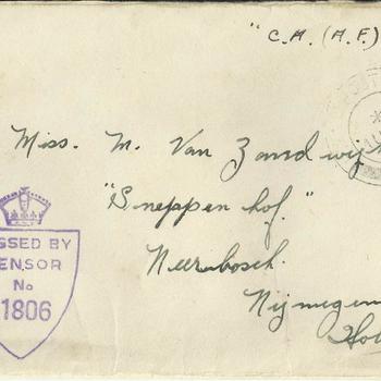 Enveloppe, Brief van Dennis Terry aan Maaike van Zandwijk, 7 augustus 1945