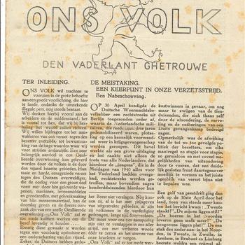 Ons Volk, No 1, 7 Oktober 1943
