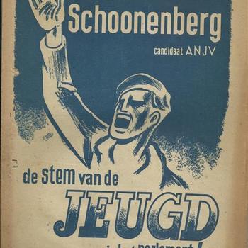 A-N-J-V  orgaan van het Algemeen Nederlands Jeugd  Verbond  Fred Schoonenberg candidaat ANJV
