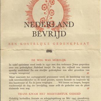 Nederland Bevrijd, een kostelijke gedenkplaat