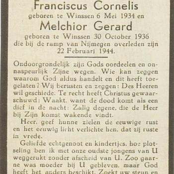 bidprentje H. Grisel, Frans en Melchior