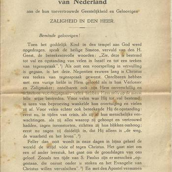 De Aartsbisschop en de Bisschoppen van Nederland aan hun toevertrouwde Geestelijkheid en Gelovigen