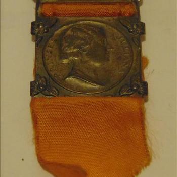 herdenkings medaille  Prinses Juliana, zilverkleurig met oranje lint
