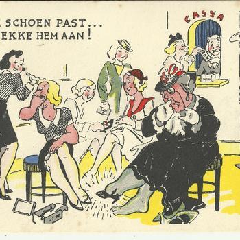 geïllustreerde kaart    mei - juni - 1940     Wie de schoen past...die trekke hem aan