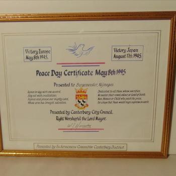 certificaat van Dag van de Vrede, 8 mei 1995