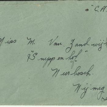 Enveloppe,  Brief van Dennis Terry aan Maaike van Zandwijk, 31 augustus 1945
