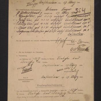 Empfangsbescheinigung 17 maart 1943 , lijst met namen van Nederlandse Joden woonachtig in Amsterdam