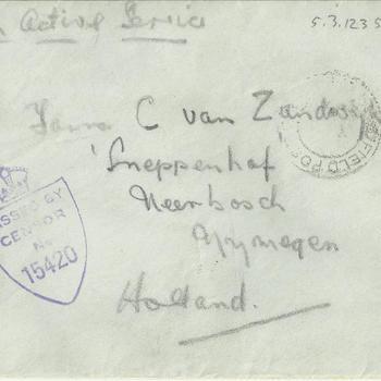 Enveloppe, Brief van Len Summers aan C. van Zandwijk, gedateerd June 3rd
