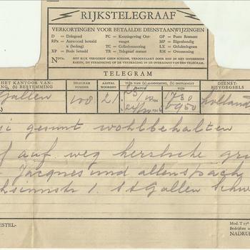 Telegram uit St. Gallen uit oktober 1945 betreffende de aankomst van Jacques  Appeldoorn bij een pleeggezin in Zwitserland