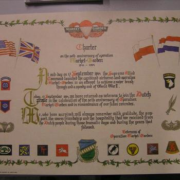 poster Charter of the 50th Anniversary of operation Market Garden 1944-1994.