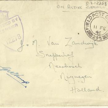 Enveloppe, Brief van Sgt V.W. James aan J. en M. van Zandwijk, gedateerd 9 februari 1945