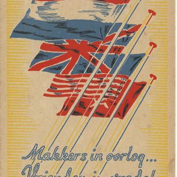Geïllustreerde kaart - bevrijding  Makkers in oorlog .... Vrienden in vrede