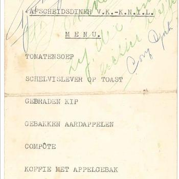 Uitnodiging en menu afscheidsdiner Vrouwenkorps KNIL, gedrukt 26 juli 1950