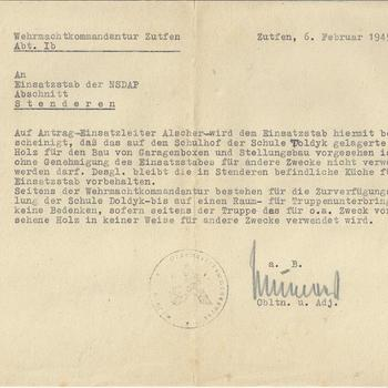 Bericht van de Wehrmachtkommandantur Zutfen( Zutphen) aan Einsatzstab der NSDAP Abschitt Steenderen, 6 februari 1945