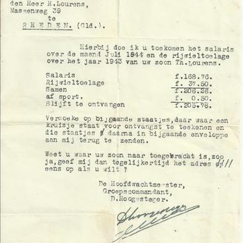 Marechaussee Gewest Rotterdam, Groep Nieuwe Namen aan dhr H. Lourens betreffende het salaris en rijwieltoelage van Marechaussee Theodorus Lourens