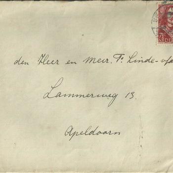 brieven voor Mevrouw Linde van der Meij te Apeldoorn periode 1944 1945  brief 1 t/m 5