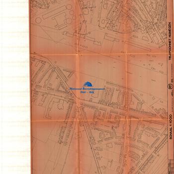 Nijmegen, schaal 1:1000, Telefoonnet Nijmegen, PTT, Telefoondistrict Arnhem, blad nummer 16
