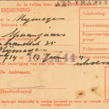Bewijs van indiening ( Distributiedienst Nijmegen) van F Spaanjaards ter verkrijging van een bon voor schoenen,