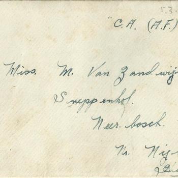 enveloppe, Brief van Dennis Terry aan Miss M. van Zandwijk, d.d.15 July 1945