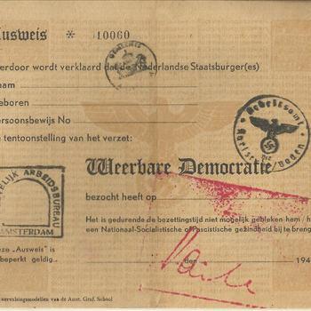 Ausweis, verklaring, dat de tentoonstelling Weerbare Democratie is bezocht.