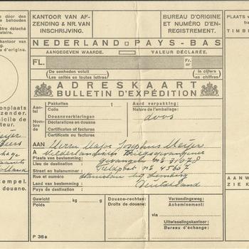 Adreskaart van een verzonden postpakket op naam van:   Meijer, Nederandsche krijgsgevangene, no. 31078, Stanislau bij Lemberg