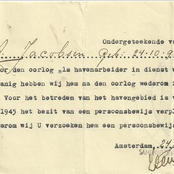 Verklaring van Arbeid, J.A. Jacobsen, 1945
