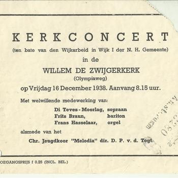 toegangskaartje concert in de Willem de Zwijgerkerk op vrijdag 16 december 1938