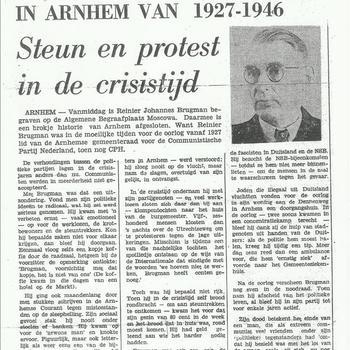 Krantenknipsels betreffende Renier Brugman. Hij was verzetsman CPH - CPN te Arnhem