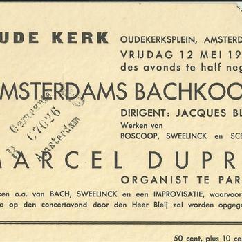 toegangskaartje concert in de Oude Kerk te Amsterdam op vrijdag  12 mei 1939
