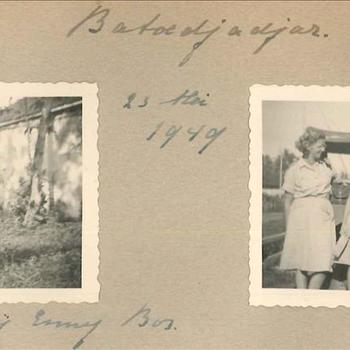 'Batoedjadjar, 23 mei 1949 bij Emmy Bos' 3 leden Vrouwenkorps KNIL en een onbekende man van KNIL, Nederlands-Indië, 2 foto's