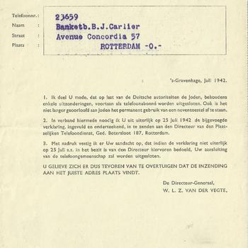 Mededeling van het Staatsbedrijf der Posterijen, Telegrafie en Telefonie betreffende de uitsluiting van Joden als telefoonabonnee