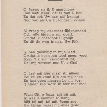 bidprentje met gedicht van Titus Brandsma