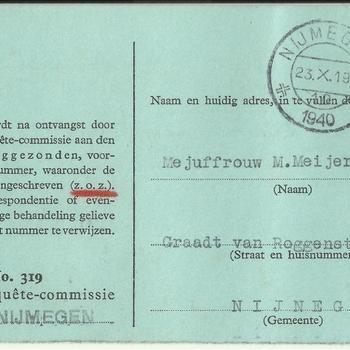 Kaart Schade-Enquête-Commissie Nijmegen op naam van Mej. M. Meijer