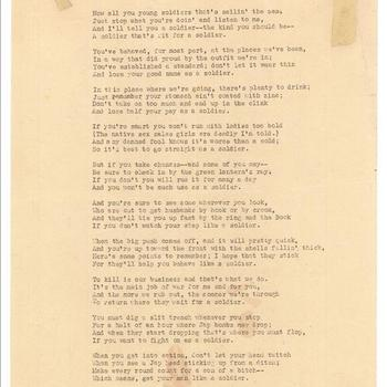 Gedicht. A Soldier That's Fit for a Soldier. Mei 1942.