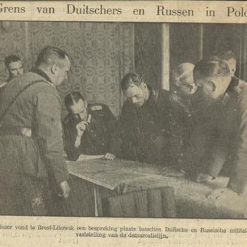 grens van Duitschers en Russen in Polen   25 september 1939