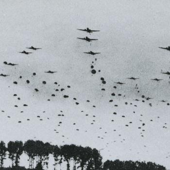 Foto van afsprong 1ste Poolse Parachutisten bataljon te Overasselt, 23 september 1944.