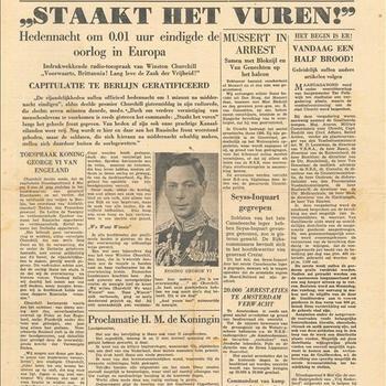 Het Parool, onafhankelijk dagblad voor de provincie Utrecht, woensdag 9 mei 1945