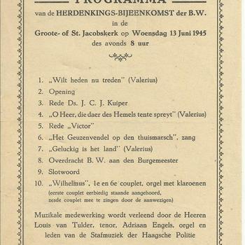 """programma van de herdenkings-bijeenkomst der B.W. in de Groote of St Jacobskerk op woensdag 13 juni 1945"""""""