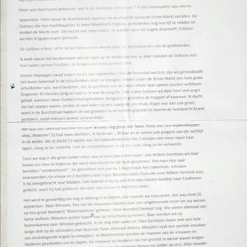 Verslag van een meisje van 7-8 jaar omtrent de gebeurtenissen gedurende de periode  september 1944 te Nijmegen