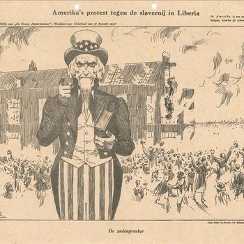 Amerika's protest tegen de slavernij in Liberia. De zedenpreeker