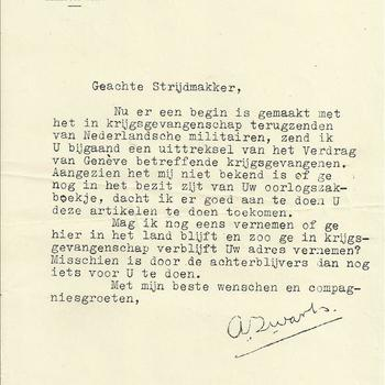 Een uittreksel van het Verdrag van Geneve betreffende krijgsgevangenen met begeleidend schrijven
