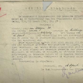 De Burgemeester der gemeente Millingen verleent ontheffing tot het overschreiden van de grens van de Gemeente Millingen aan mevr. van Wegen met ingang van 16 april 1945