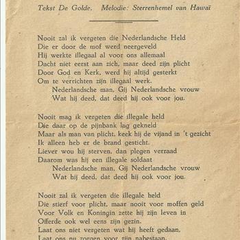 De illegale werker, tekst: De Golde, melodie: Sterrenhemel van Hawaï. muziek, verzet, nederlandsche held,