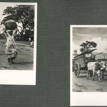 Straatbeelden Nederlands-Indië, 2 foto's