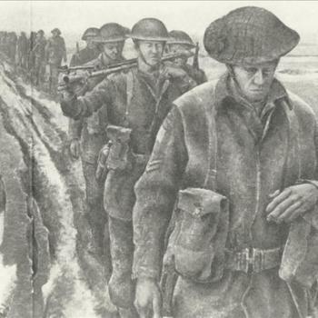 Canadese infanteristen in modderig rivierengebied